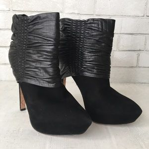 L.A.M.B puffy black suede booties